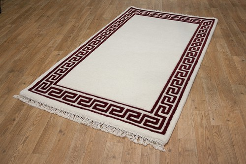 100% Wool Cream Mahal Indian Rug Design MAH104 Handknotted in India with a 22mm pile