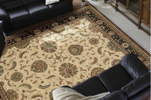 100% Wool Cream Nourison Living Treasures Rug Design Machine Woven in China with a 10mm pile