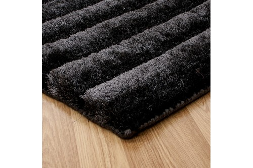 100% Polyester Black Nourison Urban Safari Rug Design Handmade in India with a 20mm pile