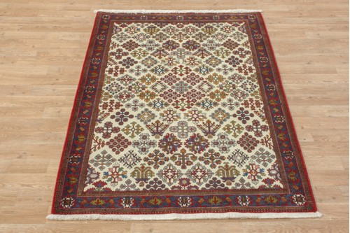 100% Wool Cream coloured Persian Abadeh Rug PAB014044 152x112 Handknotted in Iran with a 20mm pile