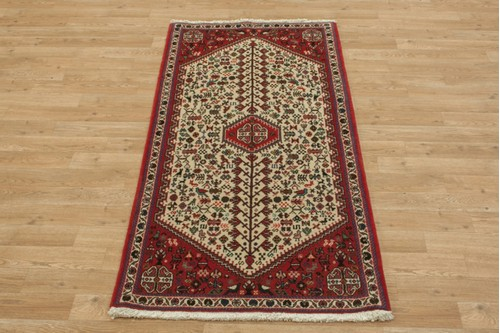 100% Wool Cream coloured Persian Abadeh Rug PAB041044 149x71 Handknotted in Iran with a 20mm pile