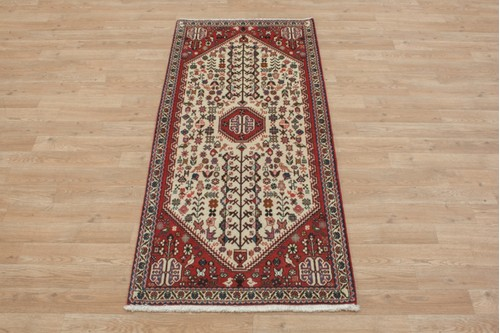 100% Wool Cream coloured Persian Abadeh Rug PAB041044 155x68 Handknotted in Iran with a 20mm pile