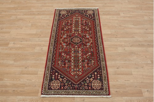 100% Wool Red coloured Persian Abadeh Rug PAB041070 150x67 Handknotted in Iran with a 20mm pile