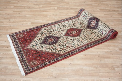 100% Wool Cream Persian Abadeh Rug PAB047044 300 x 80 Handknotted in Iran with a 15mm pile