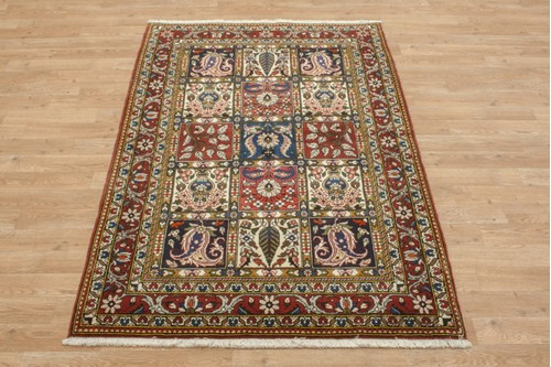 100% Wool Multi coloured Persian Bakhtiar Rug PBA014030 156x107 Handknotted in Iran with a 20mm pile