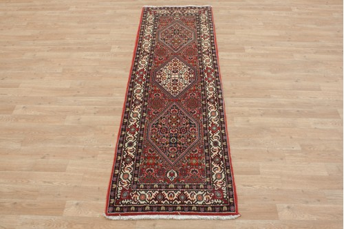 100% Wool Red coloured Persian Bidjar Rug PBD041000 202x61 Handknotted in Iran with a 20mm pile