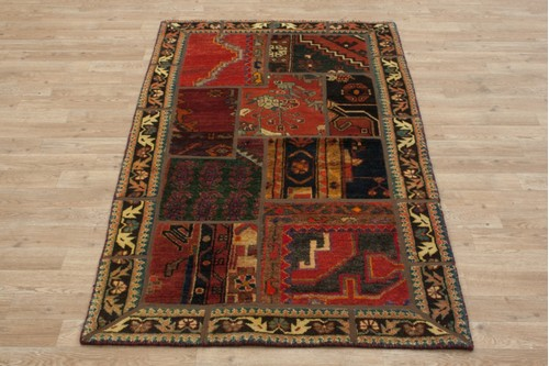 Patchwork Persian Rug 100% Wool handknotted in Iran 15mm