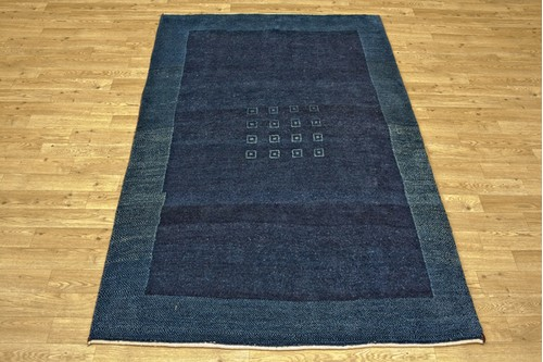100% Wool Blue Persian Gabbeh Rug PGA018046 178x116 Handknotted in Iran with a 13mm pile