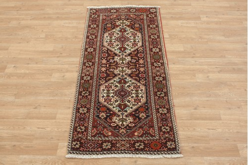 100% Wool Multi coloured Persian Goltuch Runner PGH041000 153x63 Handknotted in Iran with a 10mm pile