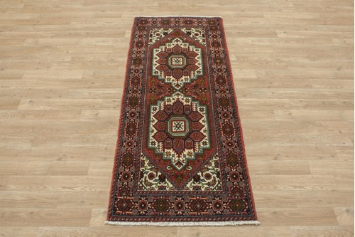 100% Wool Multi coloured Persian Goltuch Runner PGH041000 155x60 Handknotted in Iran with a 10mm pile