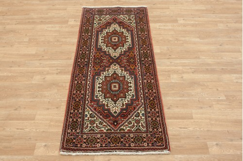 100% Wool Multi coloured Persian Goltuch Runner PGH041000 160x63 Handknotted in Iran with a 10mm pile