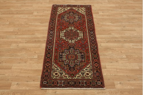 100% Wool Multi coloured Persian Goltuch Runner PGH041000 161x62 Handknotted in Iran with a 10mm pile