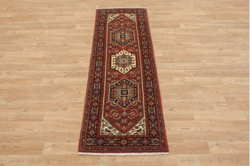 100% Wool Multi coloured Persian Goltuch Runner PGH041000 170x54 Handknotted in Iran with a 10mm pile