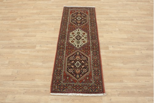 100% Wool Multi coloured Persian Goltuch Runner PGH041000 173x58 Handknotted in Iran with a 10mm pile
