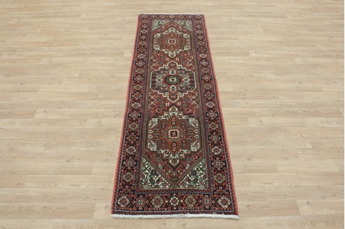 100% Wool Multi coloured Persian Goltuch Runner PGH041000 200x62 Handknotted in Iran with a 10mm pile