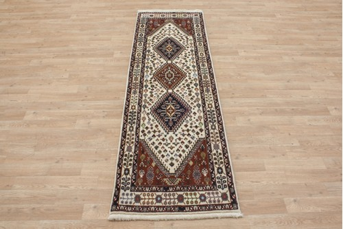 100% Wool Multi coloured Persian Ghashahayi Rug PGI041000 206x63 Handknotted in Iran with a 10mm pile