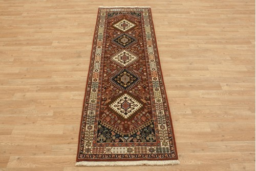 100% Wool Multi coloured Persian Ghashahayi Rug PGI041000 211x62 Handknotted in Iran with a 10mm pile