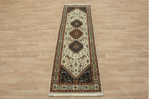 100% Wool Multi coloured Persian Ghashahayi Rug PGI041000 216x65 Handknotted in Iran with a 10mm pile