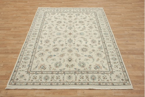 100% Wool Cream coloured Persian Golbaft Rug PGO021044 232x170 Handknotted in Iran with a 17mm pile