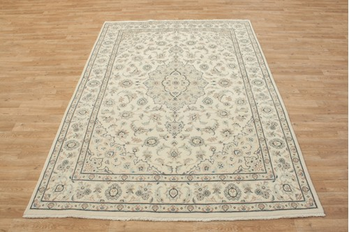 100% Wool Cream coloured Persian Golbaft Rug PGO021044 234x167 Handknotted in Iran with a 17mm pile