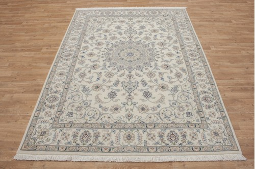 100% Wool Cream coloured Persian Golbaft Rug PGO021044 236x169 Handknotted in Iran with a 17mm pile