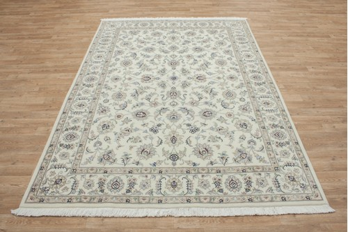 100% Wool Cream coloured Persian Golbaft Rug PGO021044 242x157 Handknotted in Iran with a 17mm pile
