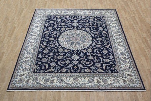 100% Wool Blue Persian Golbaft Rug PGO025046 2.97 x 2.50 Handknotted in Iran with a 20mm pile
