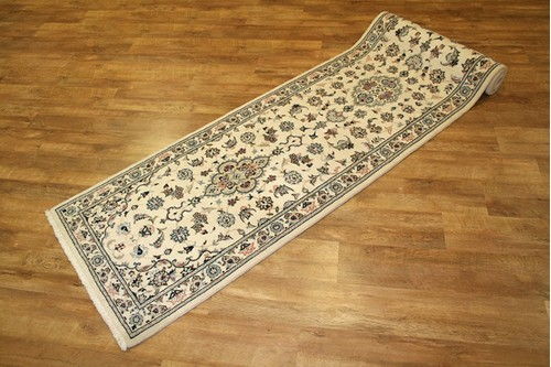 100% Wool Cream Persian Golbaft Rug PGO048044 3.47 x .84 Handknotted in Iran with a 17mm pile