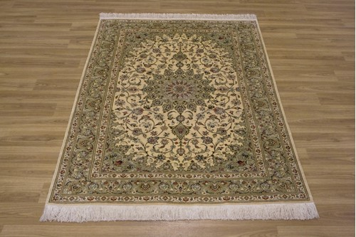 100% Silk Cream Persian Silk Qum Rug PSQ013000 147 x 102 Handknotted in Iran with a 5mm pile