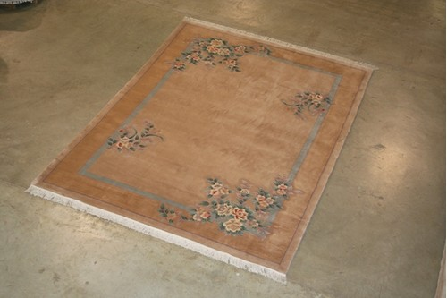 100% Wool Beige Premier Superwashed Chinese Rug PSW030492 421 x 306 Handknotted in China with a 25mm pile