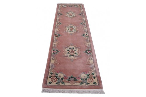 100% Wool Peach Premier Superwashed Chinese Rug D.103 Runner Handknotted in China with a 25mm pile
