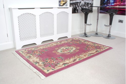 100% Wool Rose Premier Superwashed Chinese Rug D.105 Handknotted in China with a 25mm pile