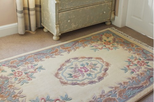 100% Wool Cream Premier Superwashed Chinese Rug D.108 Handknotted in China with a 25mm pile