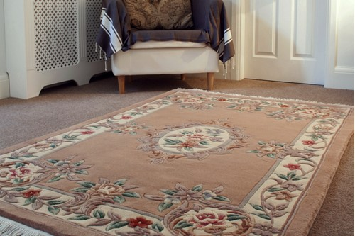 100% Wool Beige Premier Superwashed Chinese Rug D.111 Handknotted in China with a 25mm pile