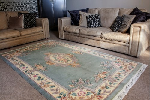 100% Wool Green Premier Superwashed Chinese Rug D.112 Handknotted in China with a 25mm pile