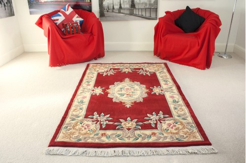100% Wool Red Premier Superwashed Chinese Rug D.114 Handknotted in China with a 25mm pile