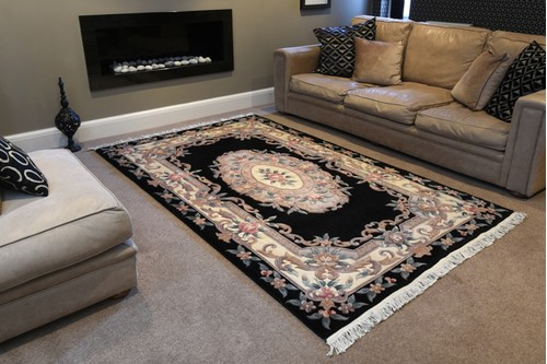 100% Wool Black Premier Superwashed Chinese Rug D.133 Handknotted in China with a 25mm pile