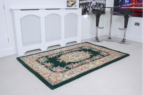 100% Wool Green Premier Superwashed Chinese Rug D.361 Hand knotted in China with a 25mm pile