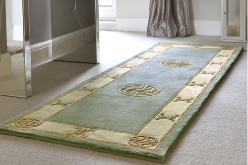 100% Wool Green Premier Superwashed Chinese Rug Design Handknotted in China with a 25mm pile