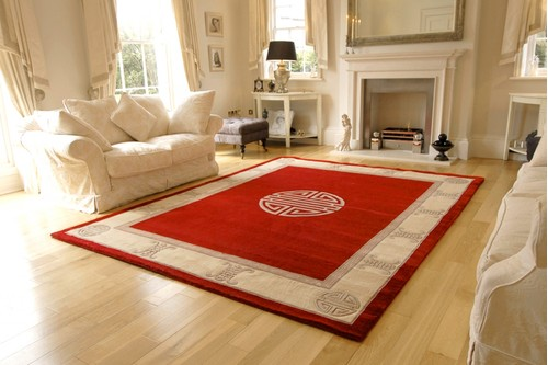 100% Wool Red Premier Superwashed Chinese Rug Design Handknotted in China with a 25mm pile