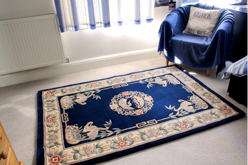 100% Wool Blue Premier Superwashed Chinese Rug Design Handknotted in China with a 25mm pile