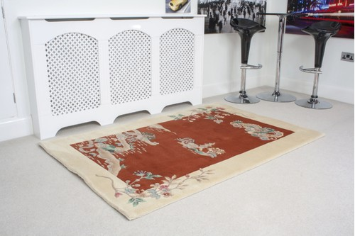 100% Wool Rust Premier Superwashed Chinese Rug Design Handknotted in China with a 25mm pile