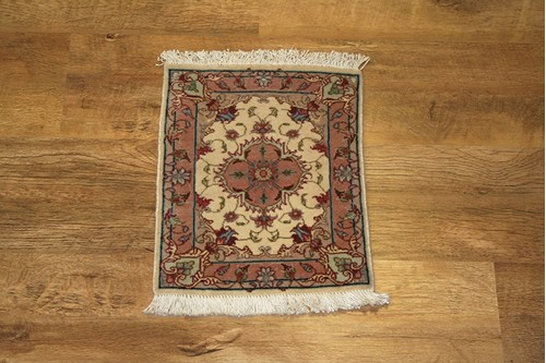 100% Wool Cream Persian Tabriz Rug PTA003FIN .38x.30 Handknotted in Iran with a 10mm pile