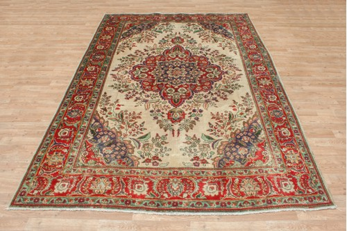 100% Wool Cream Persian Tabriz Rug PTA023CHE 300x207 Handknotted in Iran with a 10mm pile