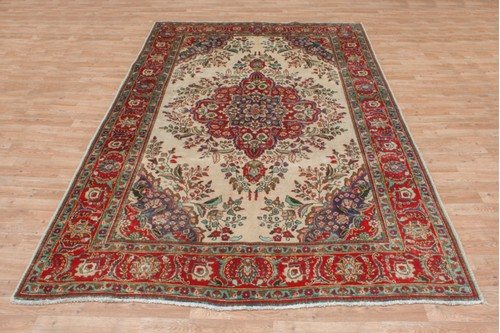 100% Wool Cream Persian Tabriz Rug PTA023CHE 302x206 Handknotted in Iran with a 10mm pile