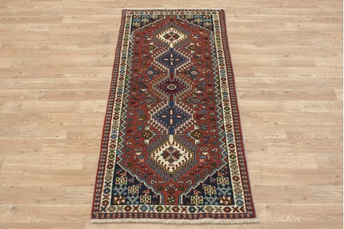 100% Wool Multi coloured Persian Yalameh Rug PYA041055 145x63 Handknotted in Iran with a 11mm pile