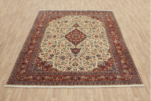 100% Wool Cream coloured Persian Zabol Rug PZA025082 299x237 Handknotted in Iran with a 11mm pile