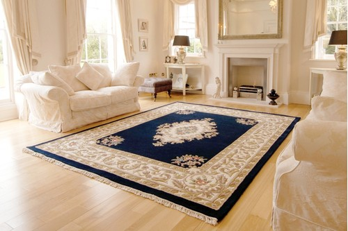 100% Wool Blue Super Rajbik Indian Rug Design Handknotted in India with a 22mm pile