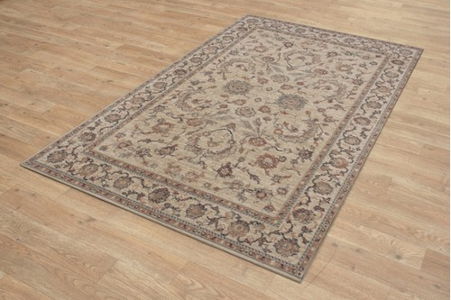 100% Wool Cream Royal Keshan Rug Design Machine Woven in Egypt with a 10mm pile