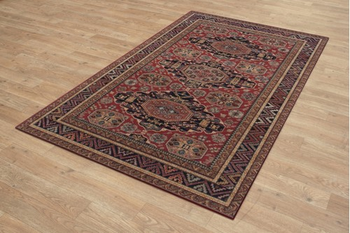 100% Wool Red Royal Keshan Rug Design Machine Woven in Egypt with a 10mm pile